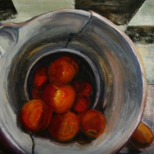 Broken Bowl Harvest - oil on museum series gesso bord, 9 x12 inches, ©2015