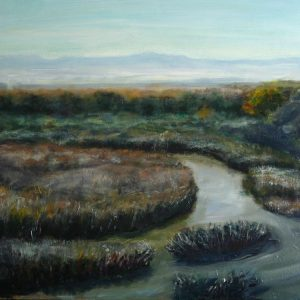 OxBow 1 November Morning, Albuquerque NM - oil on Ampersand museum series gesso bord, ©2016