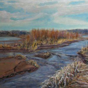 Rio Grande, Albuquerque NM - oil on museum series gesso bord, 9 x 12 inches, ©2015 - SOLD