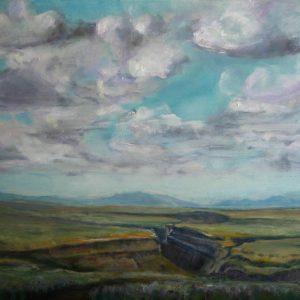 Rio Grande Gorge (north of Espanola NM) - oil on museum series gesso bord, 9 x 12 inches, ©2015