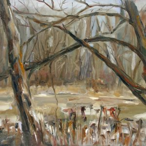 Frozen Pond - oil on gesso bord; 8 x 10 inches; ©2009