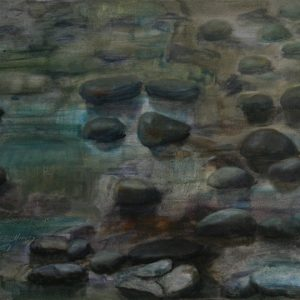 Mud Rocks in Moonlight - oil on clay bord; 8 x 10 inches; ©2009