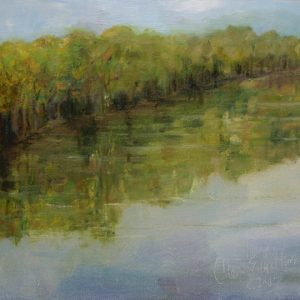 Summer Morning Pond - oil on canvas gator bord; 8 x 10 inches; ©2009