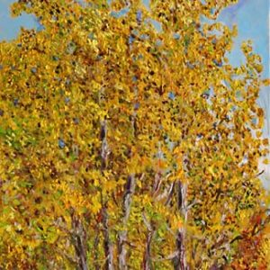Autumn Aspens - oil on canvas; 20-1/4 x 12 inches; ©1999
