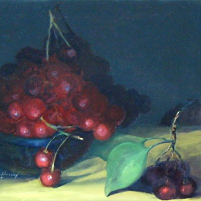 Bowl of Cherries - oil on clapboard; 8 x 10 inches; ©2008