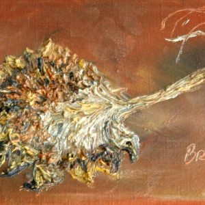 Broken Sunflower - oil on canvas; 5-1/8 x 11-1/4 inches; ©2002 - SOLD