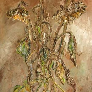 Dying Sunflower - oil on canvas; 33 x 21-1/16 inches; ©2002