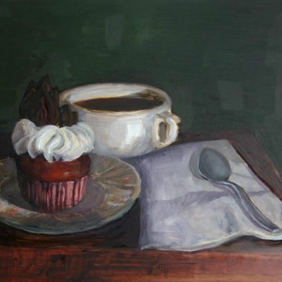 Frosted Cupcake - oil on gessoed board; 8 x 10 inches; ©2009