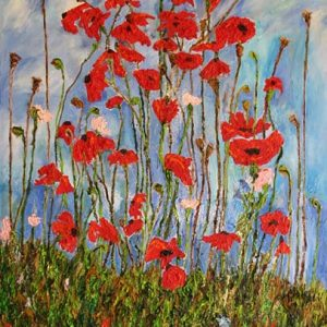 Poppies & the Sky - oil on canvas; 47-3/4 x 36-1/4 inches; ©1999 - SOLD